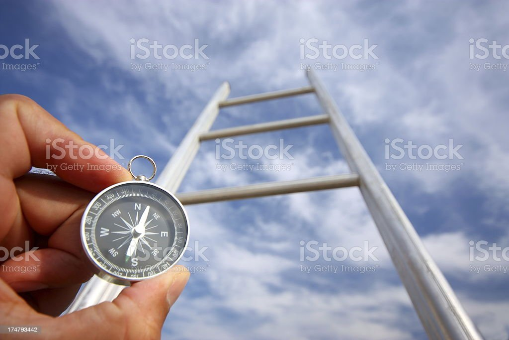 A compass pointing upwards at a ladder to the sky stock photo