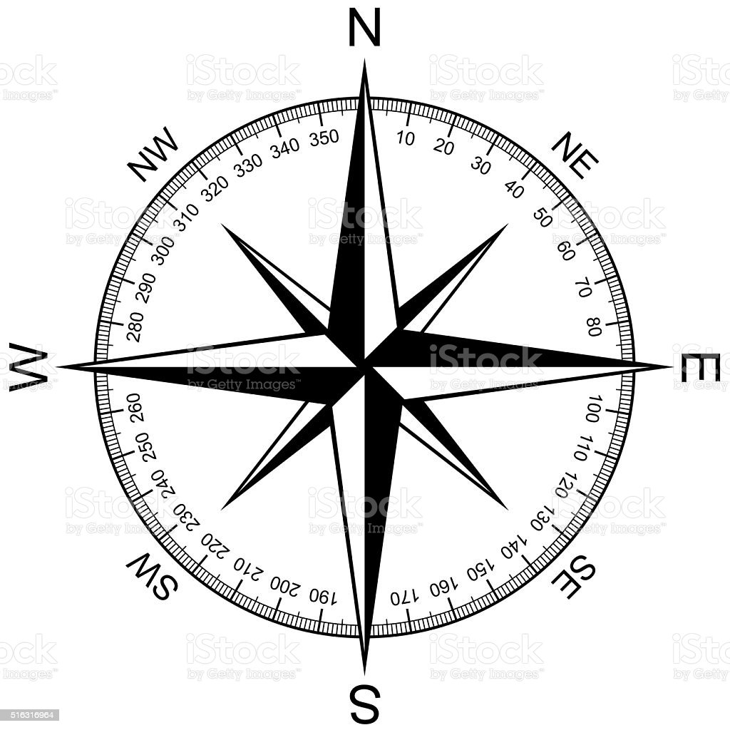 Compass Rose isolated on white stock photo