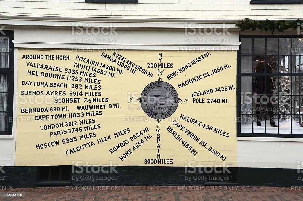 Compass Rose Mural at Gardiner's Corner royalty-free stock photo