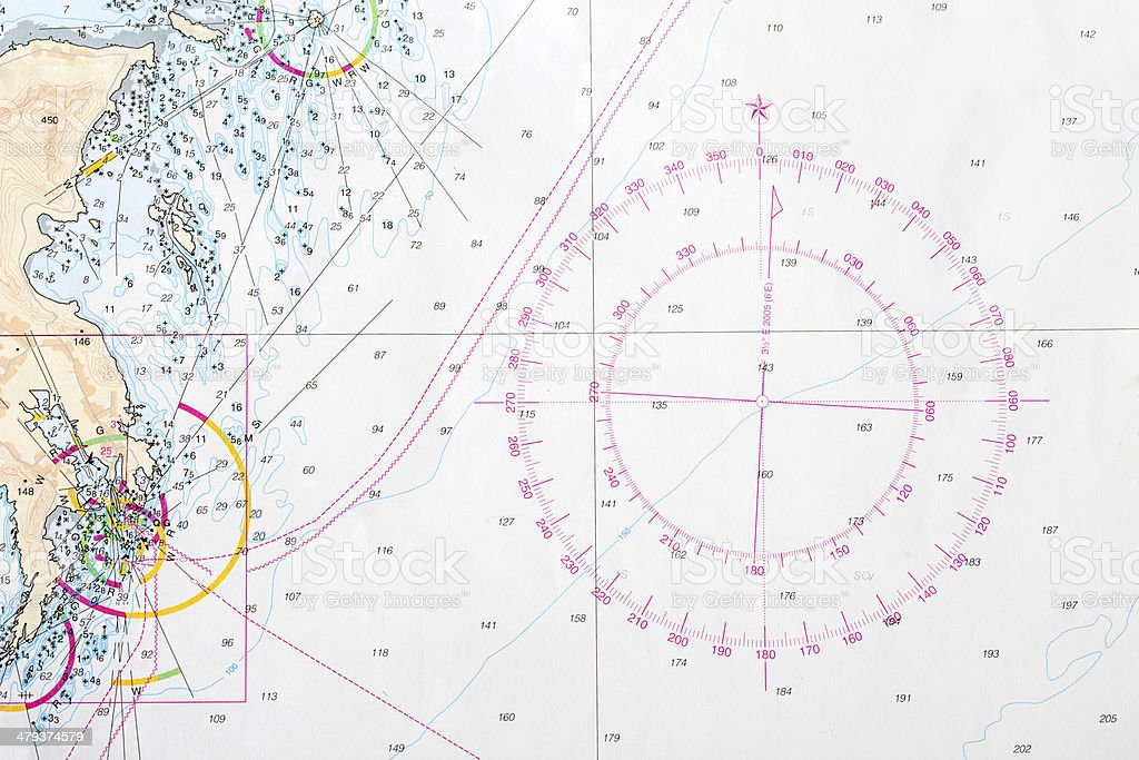 Compass rose on nautical chart stock photo