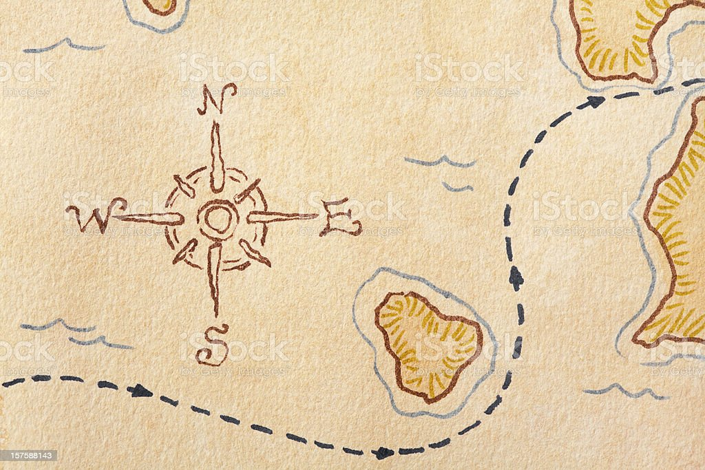 Compass Rose on Treasure Map. Full Frame, Copy Space, Horizontal. stock photo