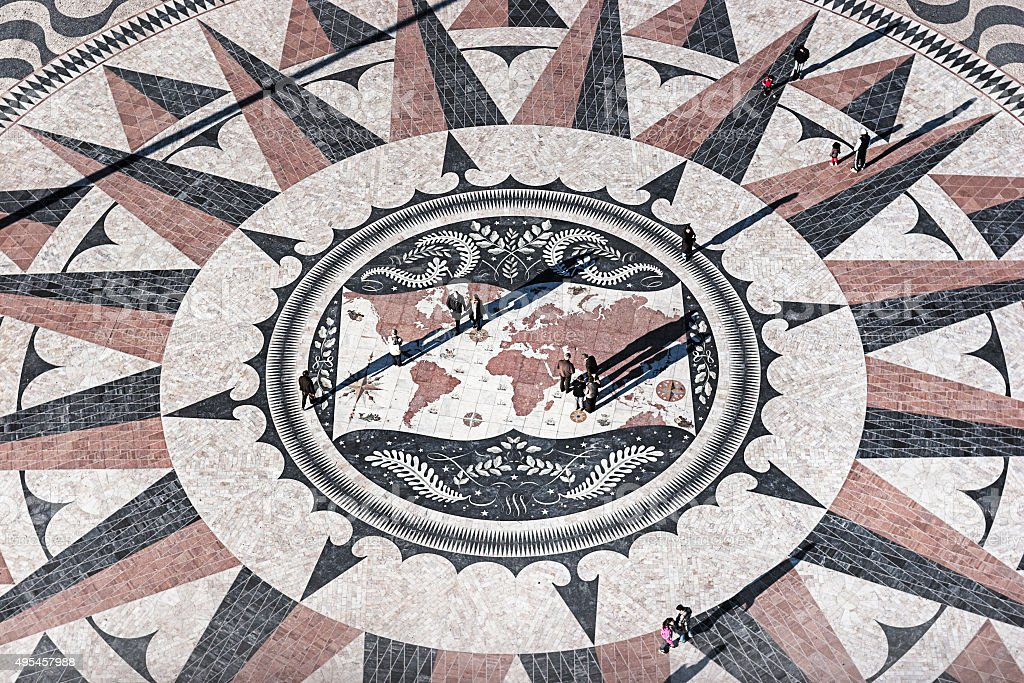 Compass Rose Square in Belem (Lisbon, Portugal). stock photo