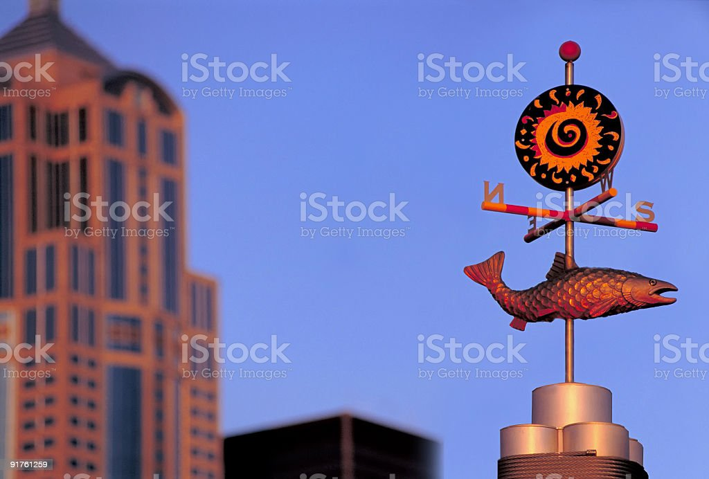 Compass signpost on the Seattle waterfront stock photo