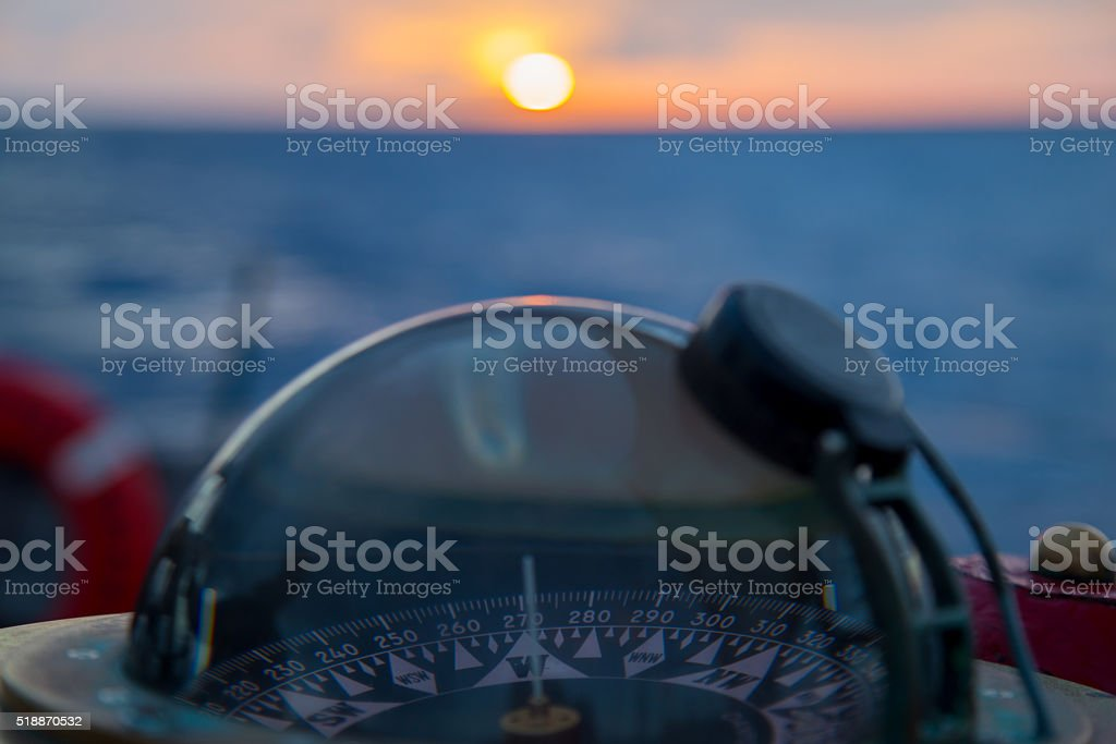 Compass Sunset West stock photo