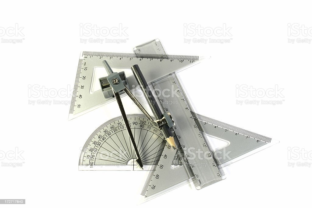compass, triangle & protractor royalty-free stock photo