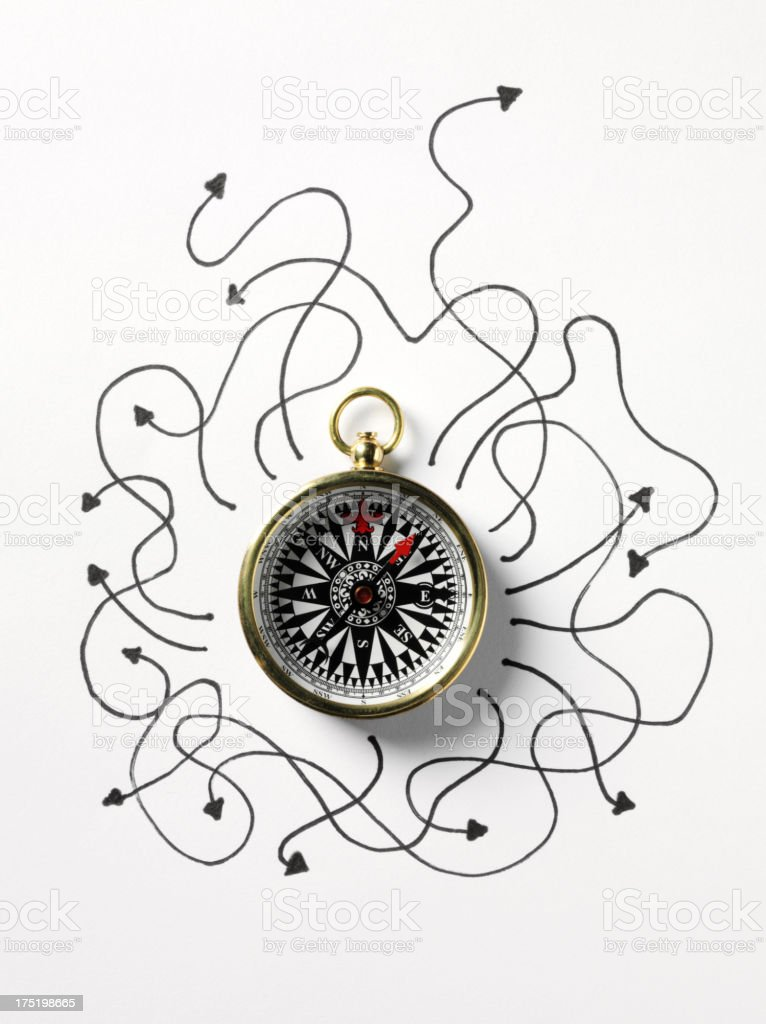 Compass with Arrows Pointing in all Directions stock photo