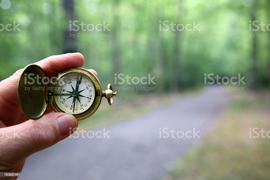 Compass With Blurred Woods Trail stock photo