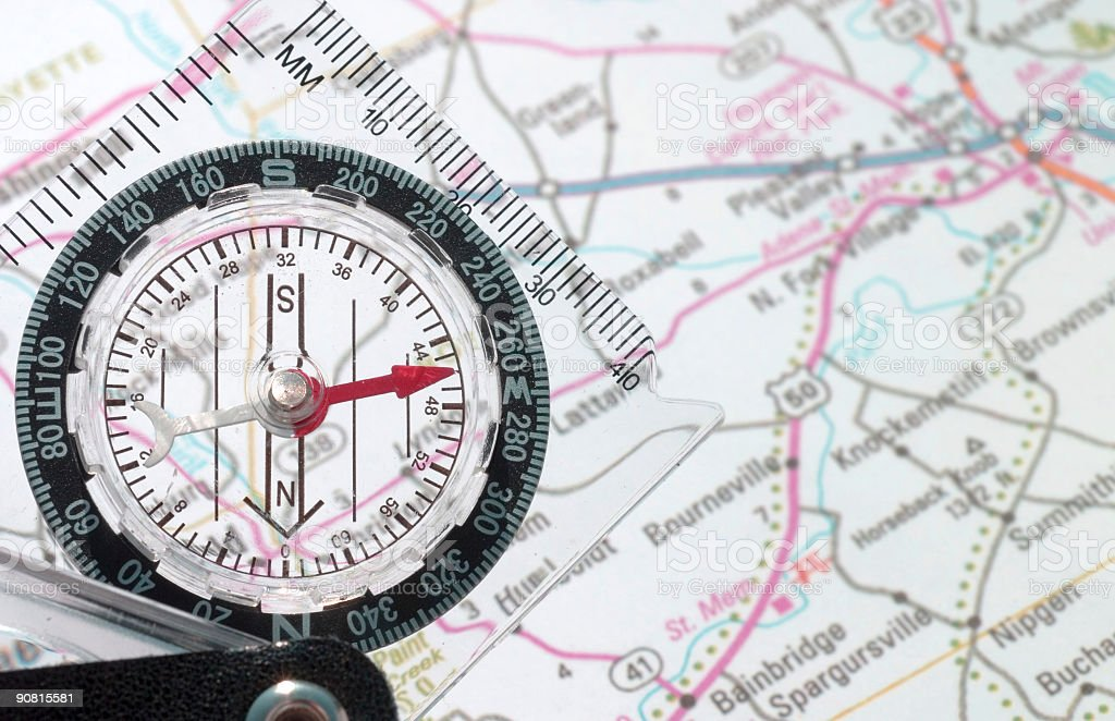Compass with map royalty-free stock photo