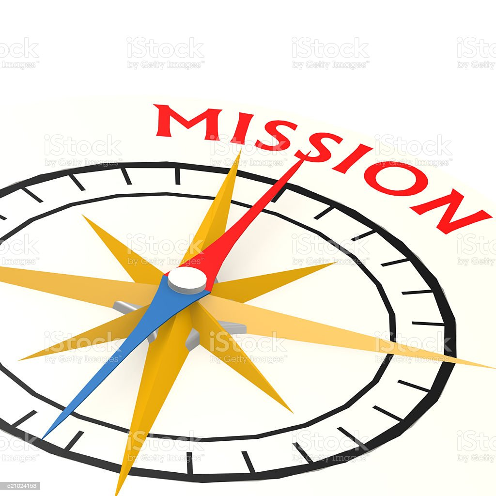 Compass with mission word stock photo