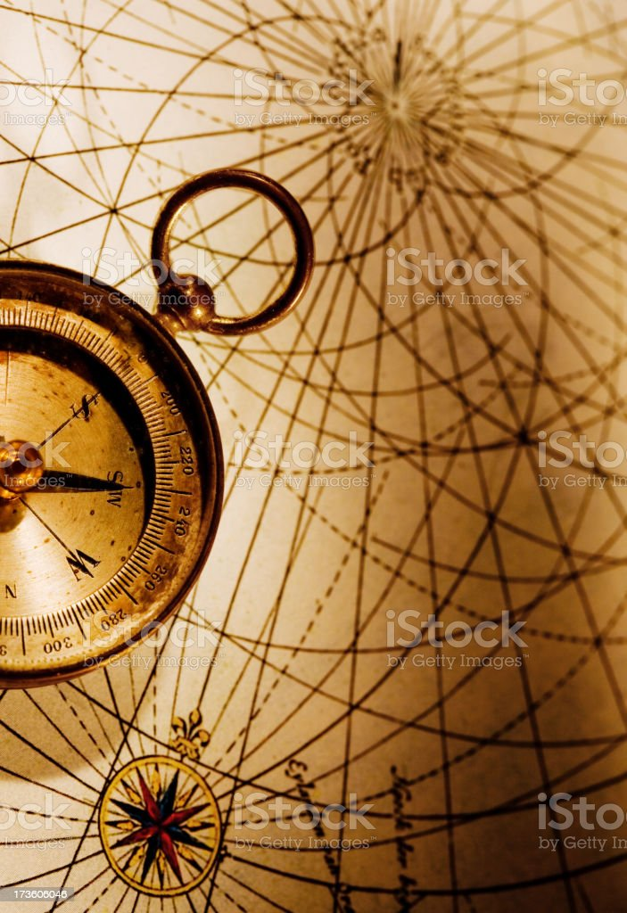 Compass with Old Map stock photo