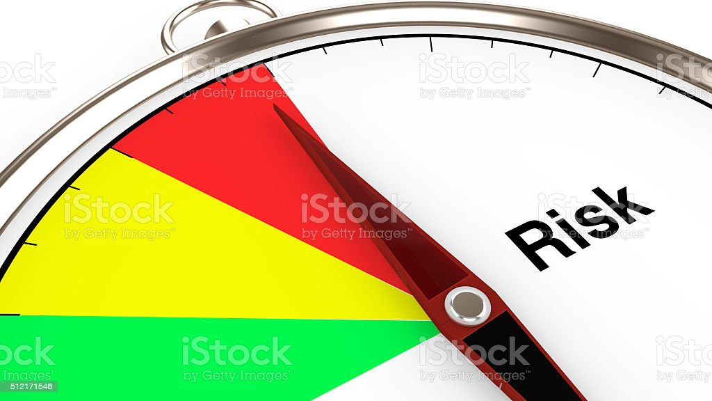 Compass with risk meter closeup in red,green,yellow 3d stock photo