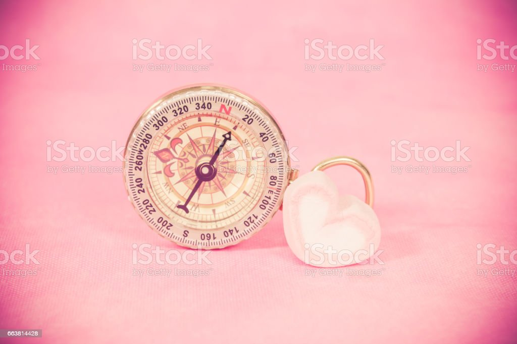 compass with sweet marshmallow candies stock photo