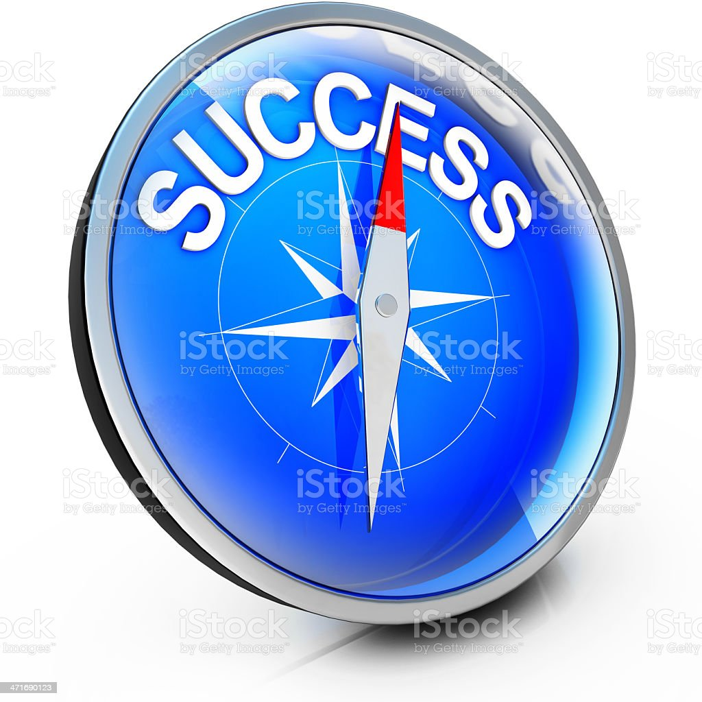 A compass with the needle pointing to success at the top stock photo