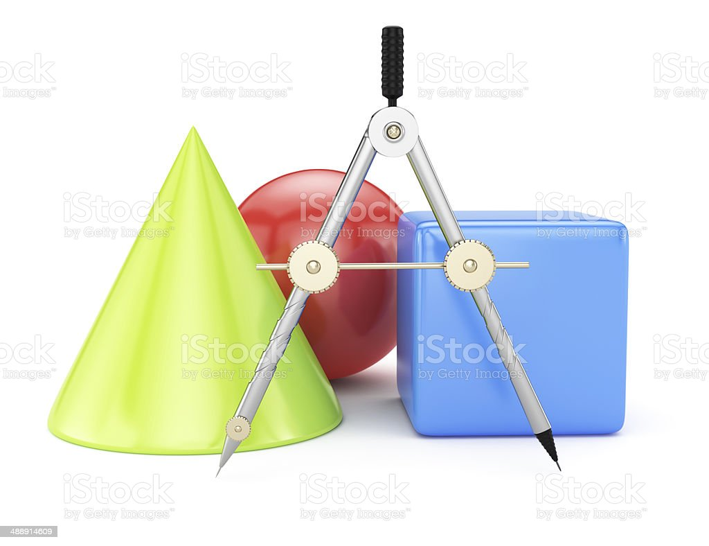 Compasses and geometric shapes royalty-free stock photo