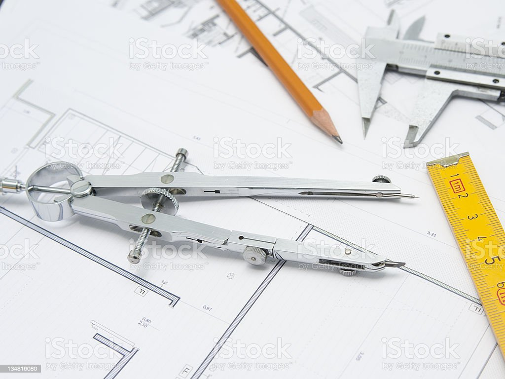 Compasses project royalty-free stock photo