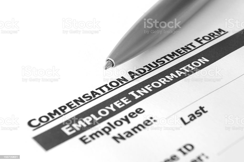 Compensation adjustment form royalty-free stock photo