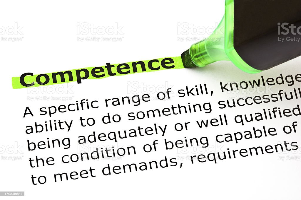 Competence highlighted in green royalty-free stock photo