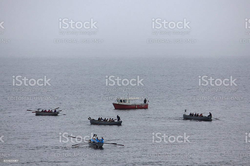 competetions of amateur rowing teams in Vladivostok, Russia stock photo