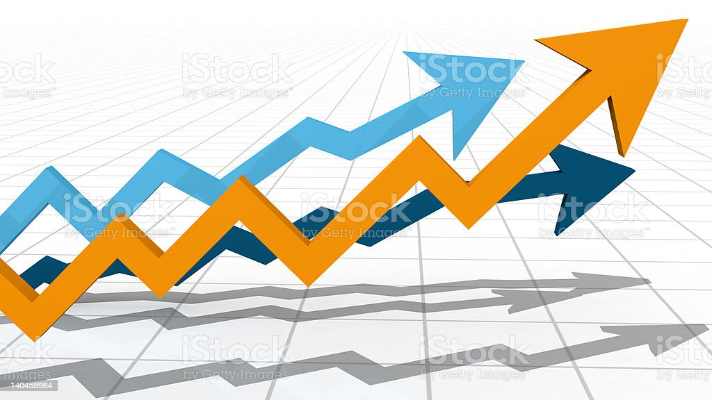 3D Competing Arrows royalty-free stock photo