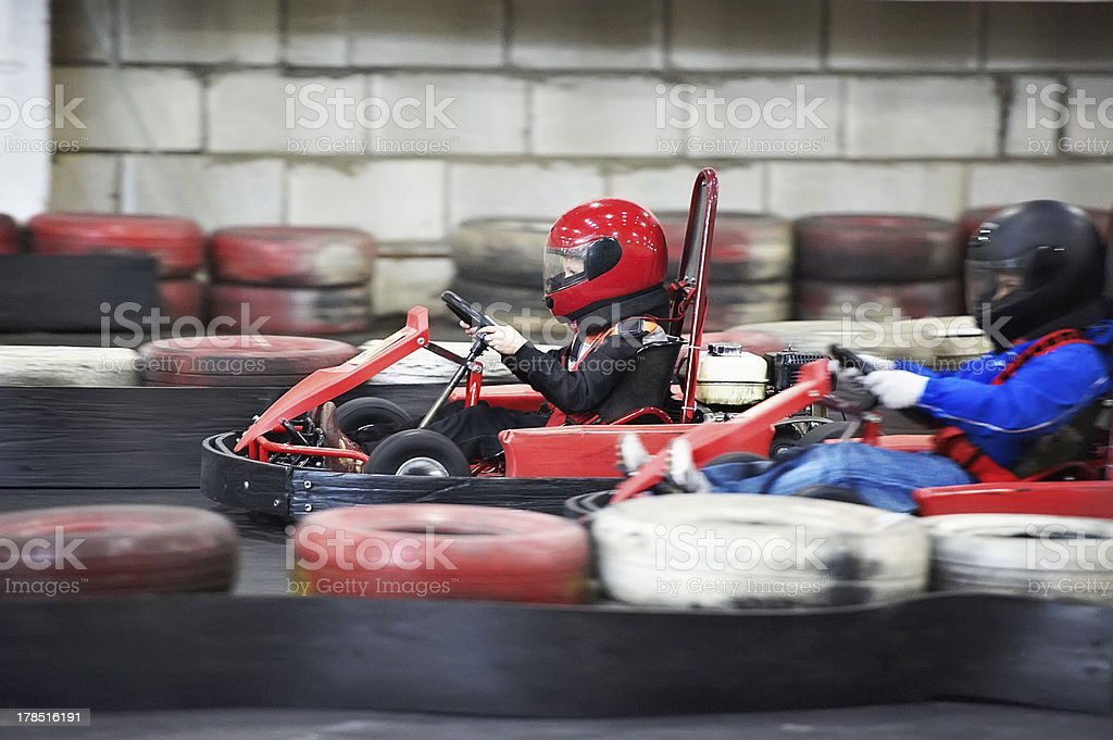A competition for children's go karting stock photo