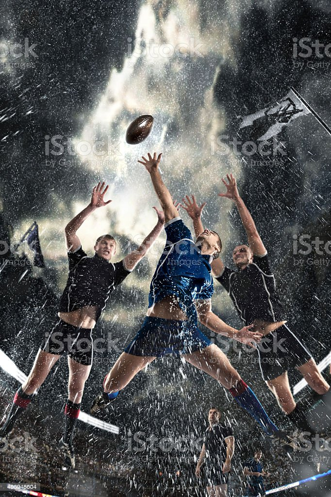 competition players Rugby in the rain stock photo