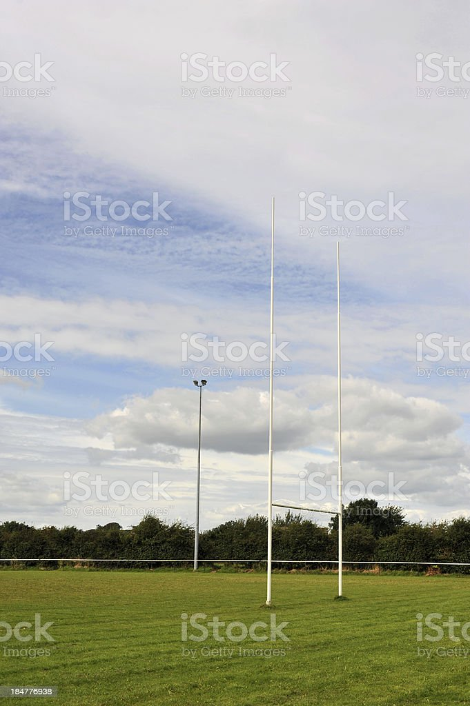 Competition Sized Rugby Goal Posts. stock photo