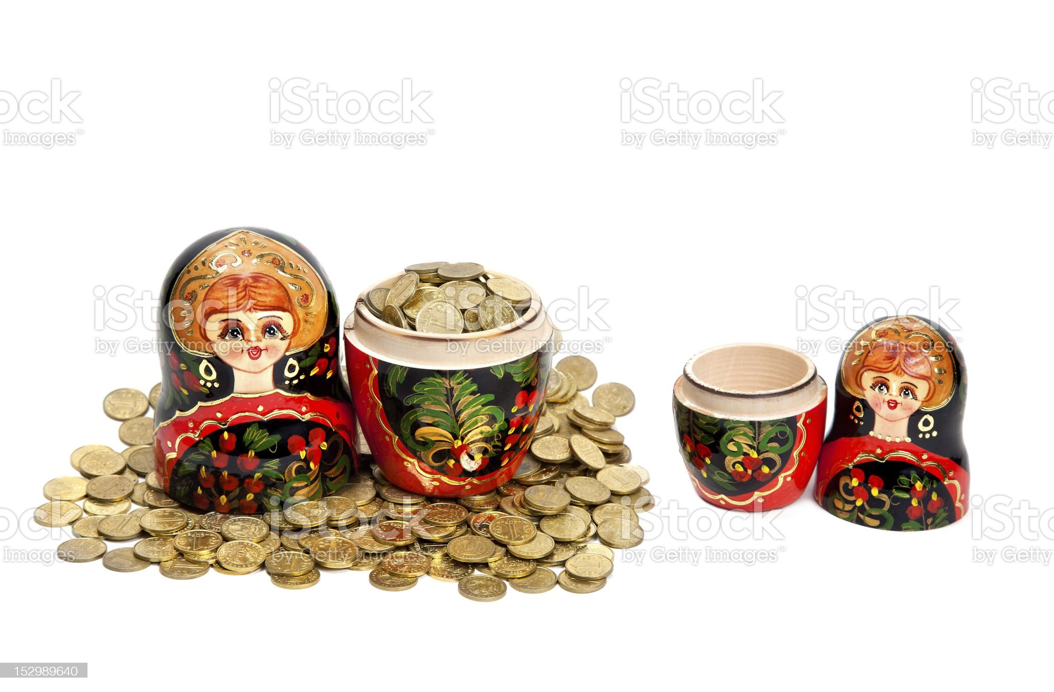 Competition with poor and rich Matryoshka royalty-free stock photo