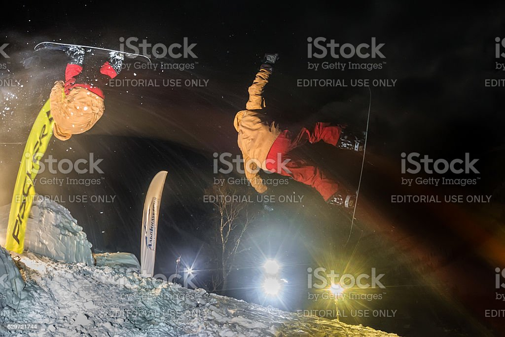 Competitions freeride Mamay First Snow 2016 mountain near Mamay stock photo