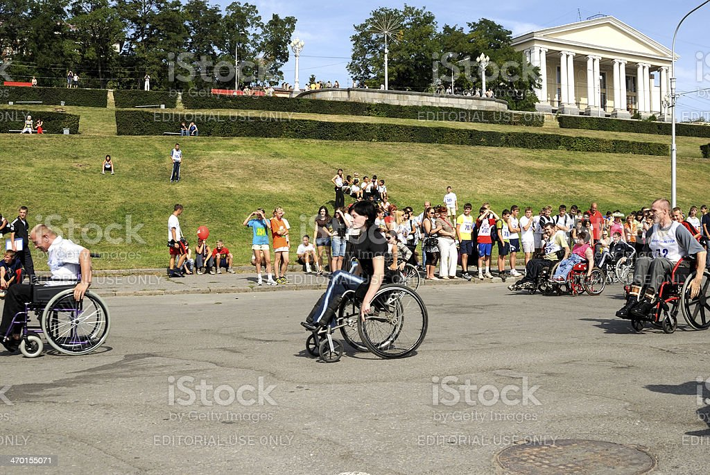 Competitions of invalids on wheelchair. stock photo