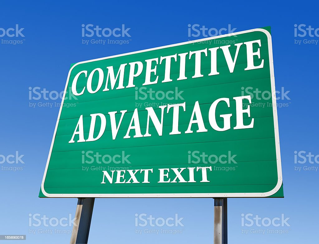 Competitive Advantage Road Sign stock photo