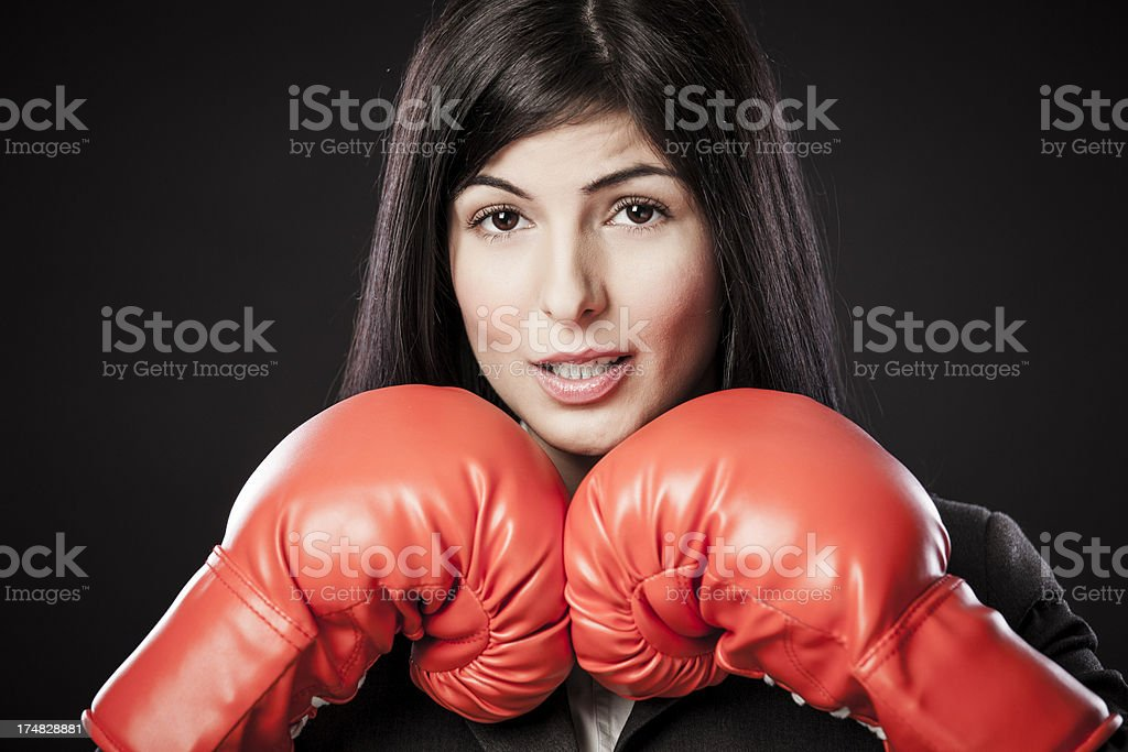 Competitive businesswoman royalty-free stock photo