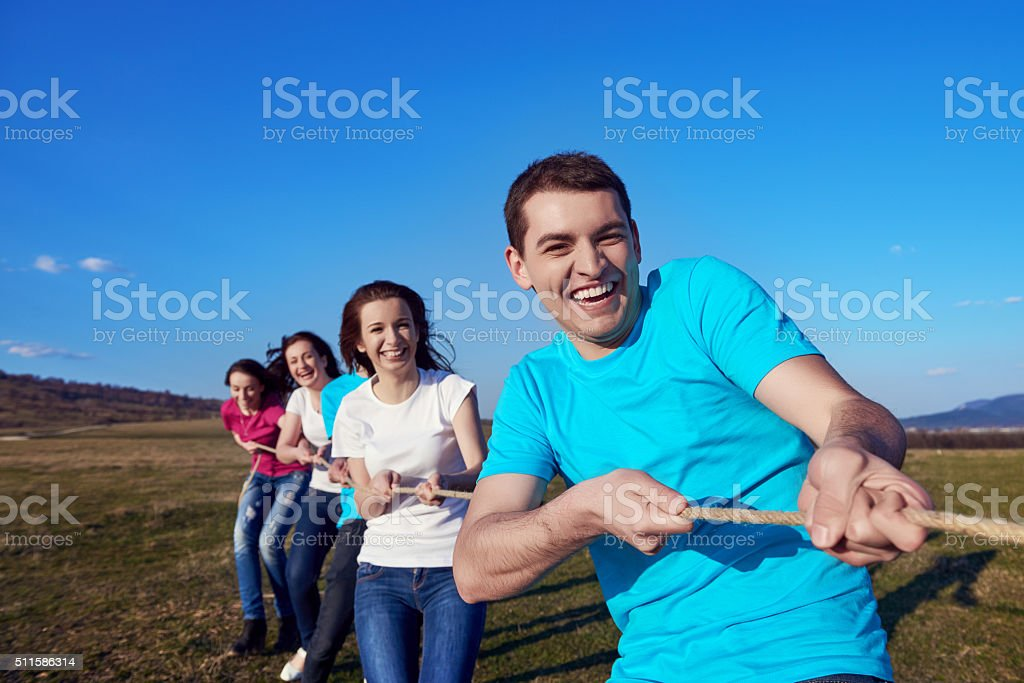 competitive game in summer stock photo