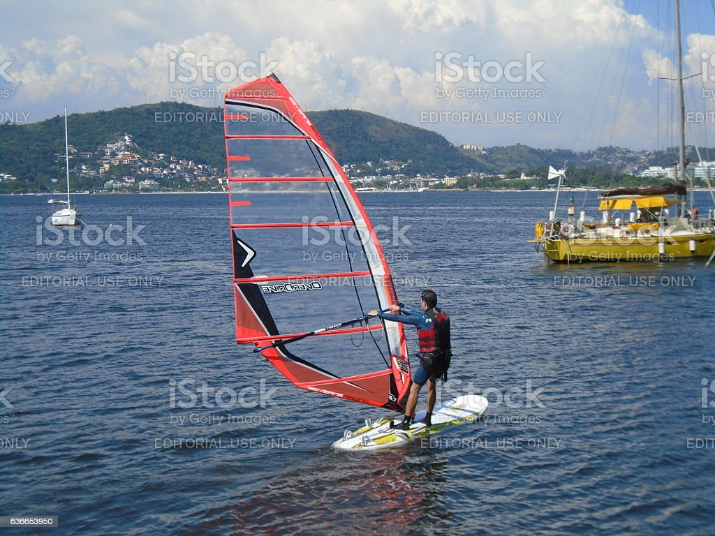 Competitor in the Brazilian Sailing Cup stock photo
