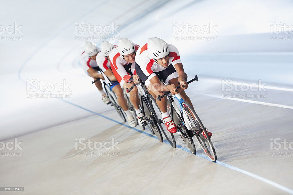 Competitors on cycling track stock photo