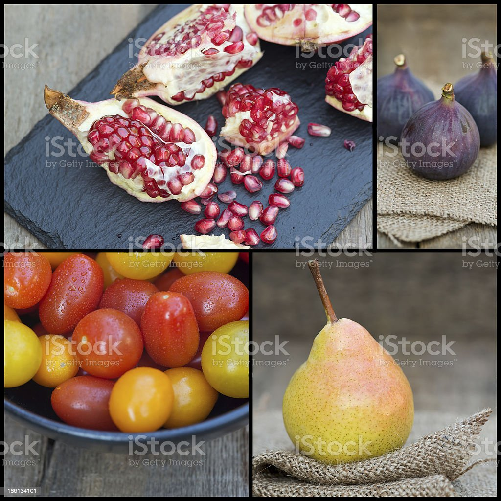 Compilation collage of fresh fruit with Autumnal theme royalty-free stock photo