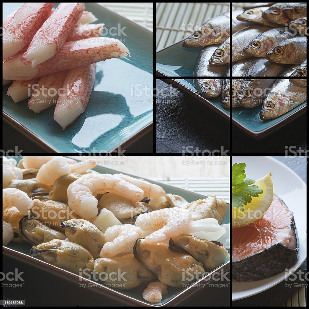 Compilation collage of fresh seafood and fish royalty-free stock photo