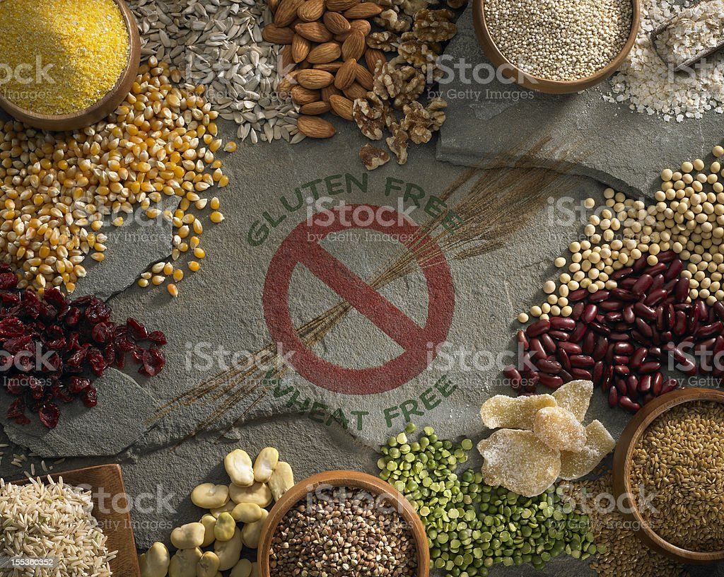 Compilation of gluten and wheat free ingredients  stock photo