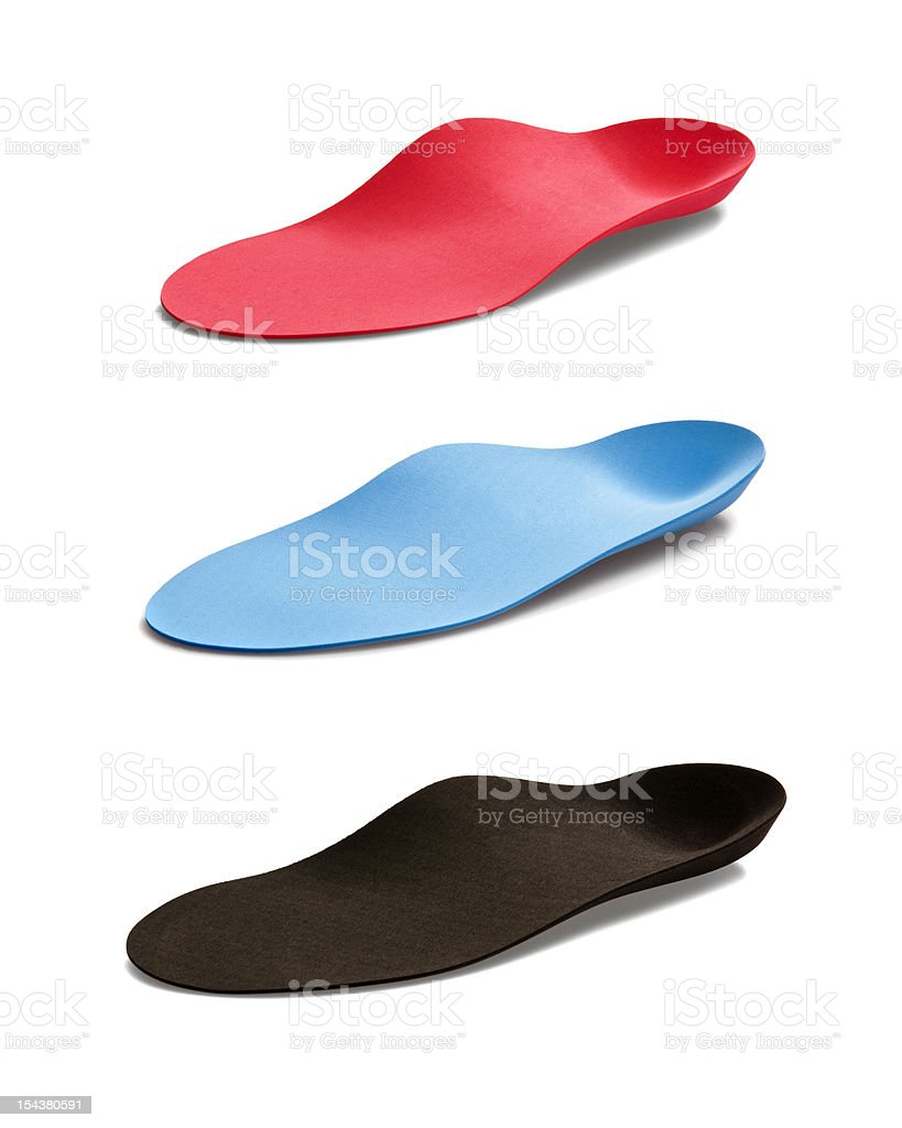 Compilation of red, blue and black insoles  stock photo