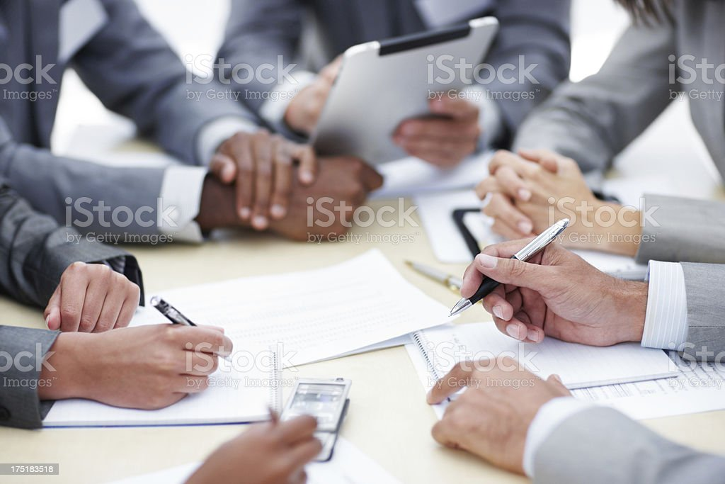 Compiling their notes royalty-free stock photo