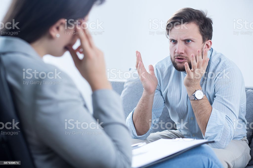 Complaining about problems stock photo