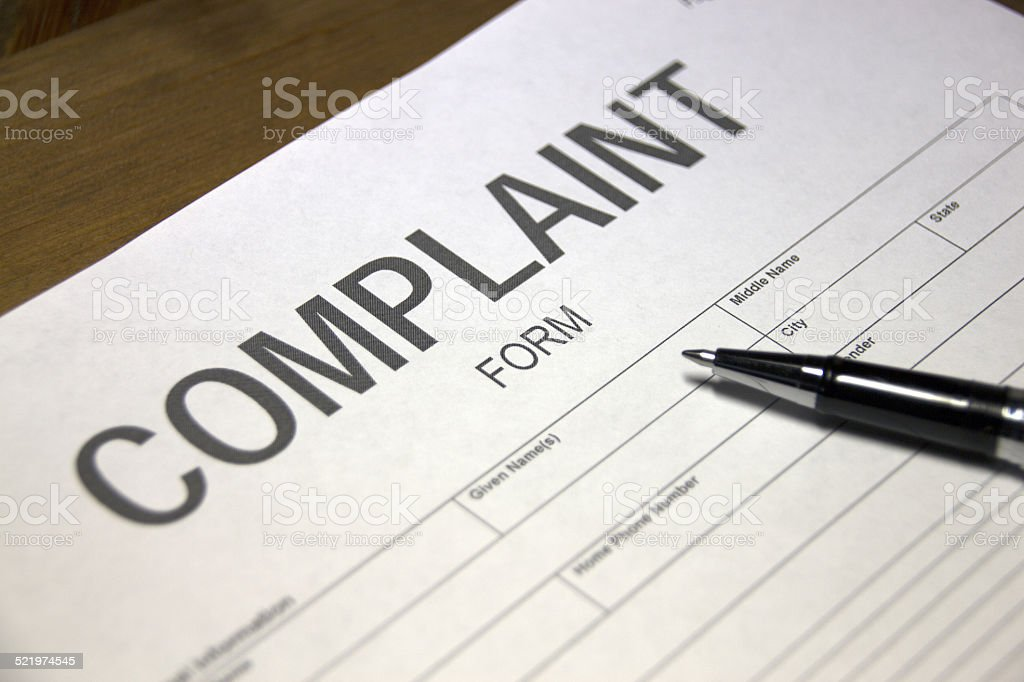 Complaint document stock photo