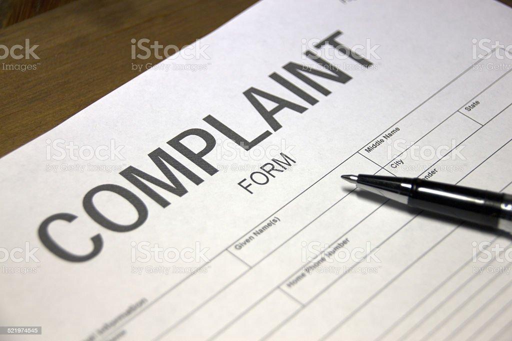 Complaint document stock photo