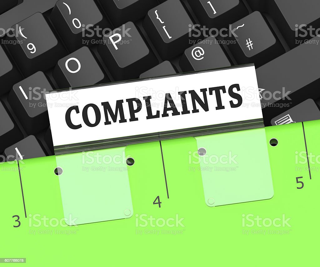 Complaints File Indicates Binder Dissatisfied And Complained 3d stock photo