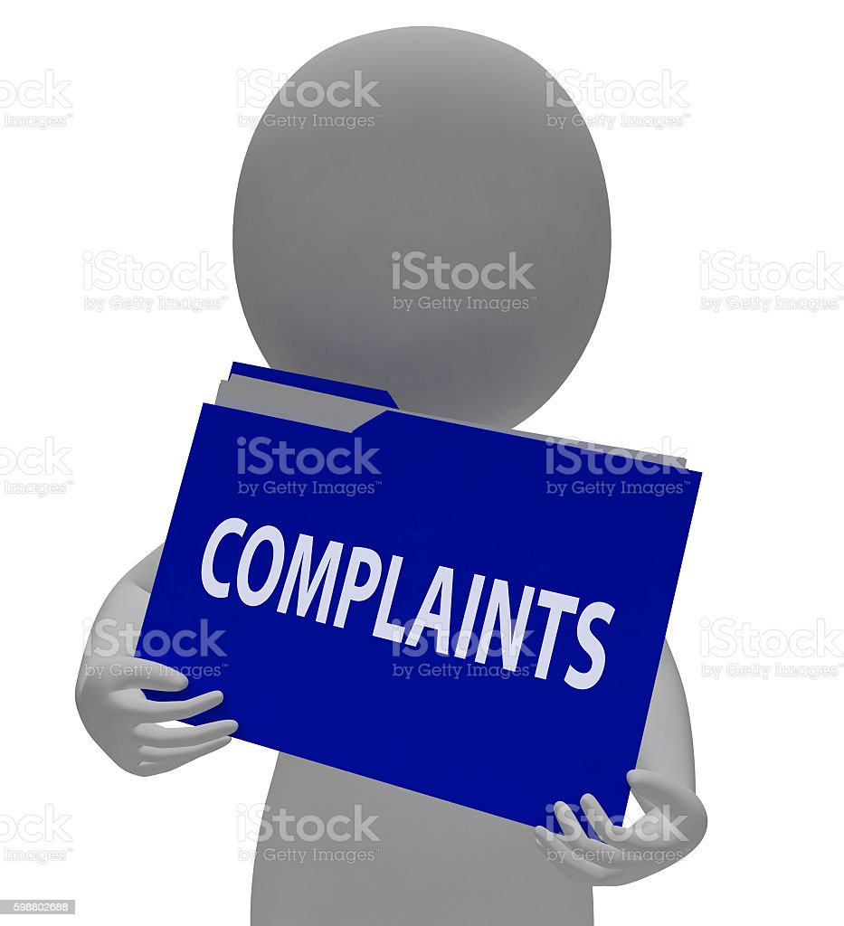 Complaints Folder Means Office Unacceptable And Frustrated 3d Re stock photo