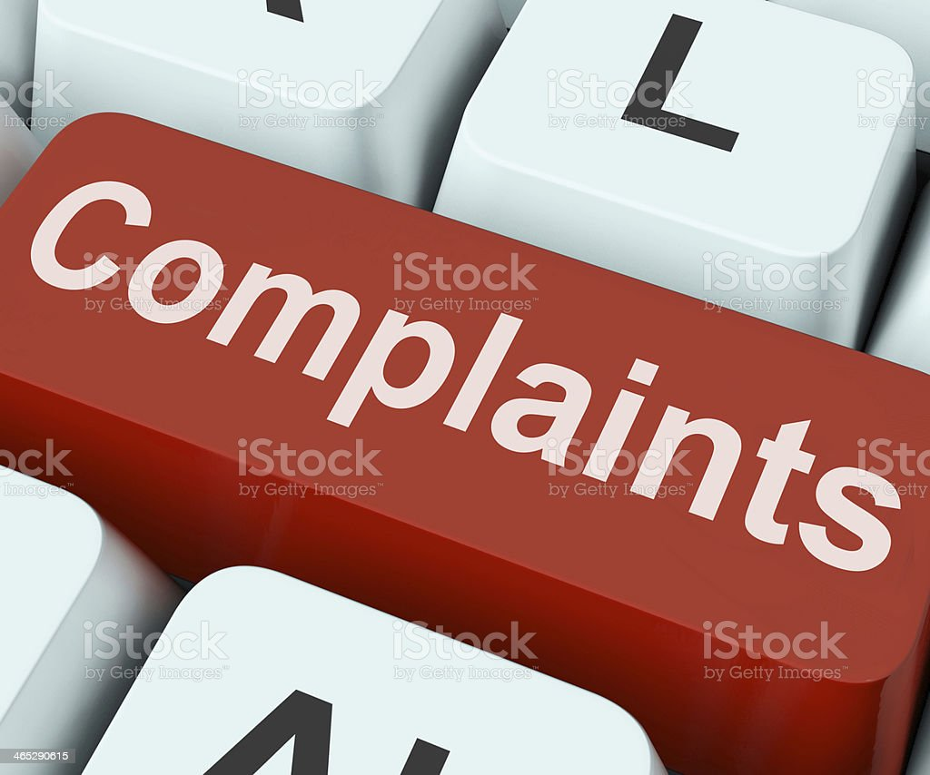 Complaints Key Shows Complaining Or Moaning Online stock photo