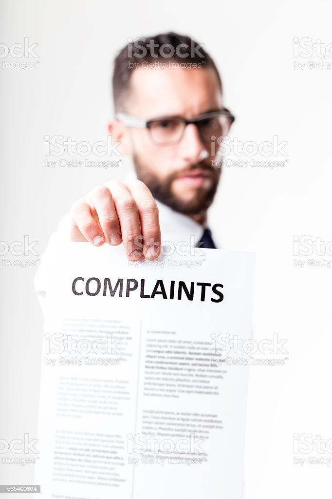 complaints shown by disapponted customer stock photo