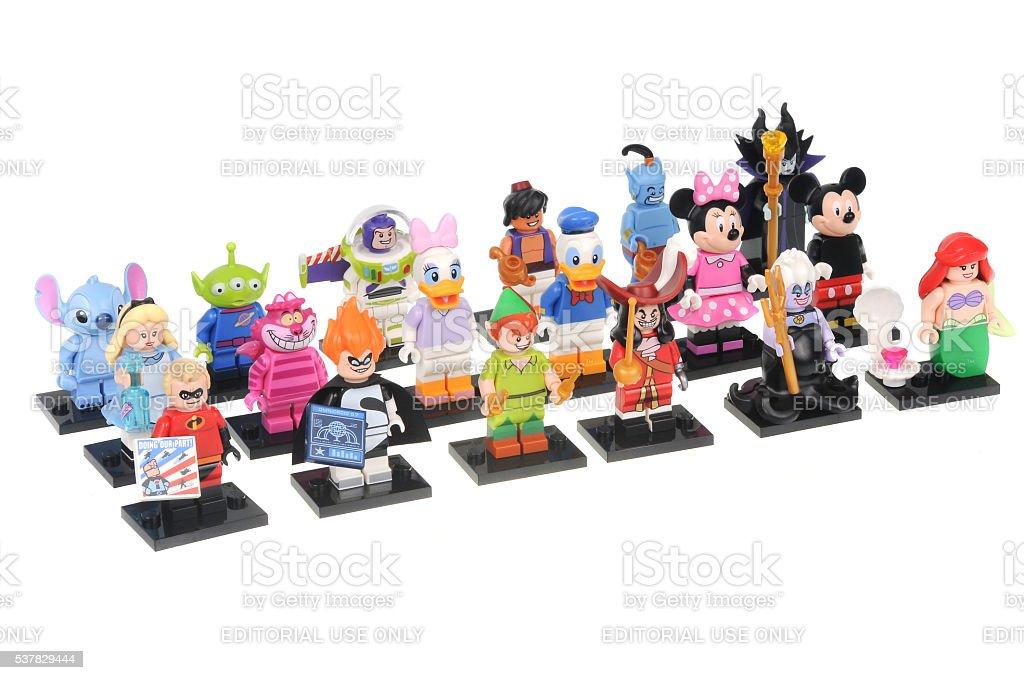 Complete Disney Series 1 Lego Minifigure Collection stock photo