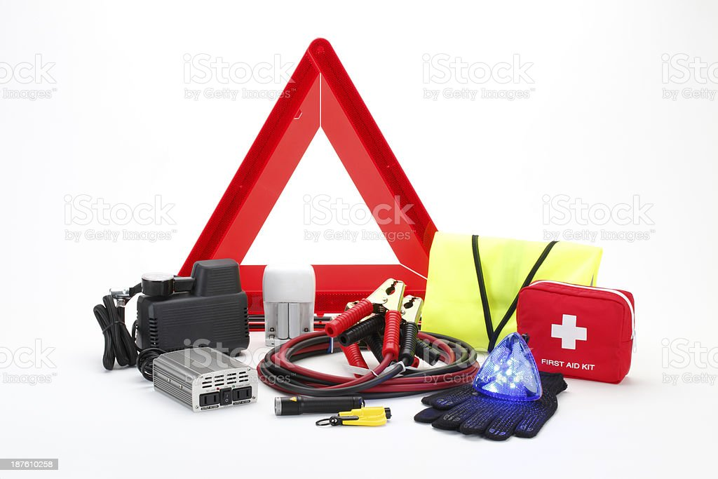 Complete emergency kit for car stock photo