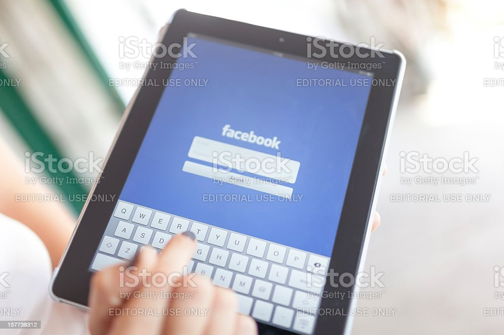 Complete Facebook Log In for Apple Ipad 3 . royalty-free stock photo