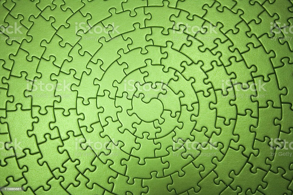 complete green jigsaw wide angle royalty-free stock photo